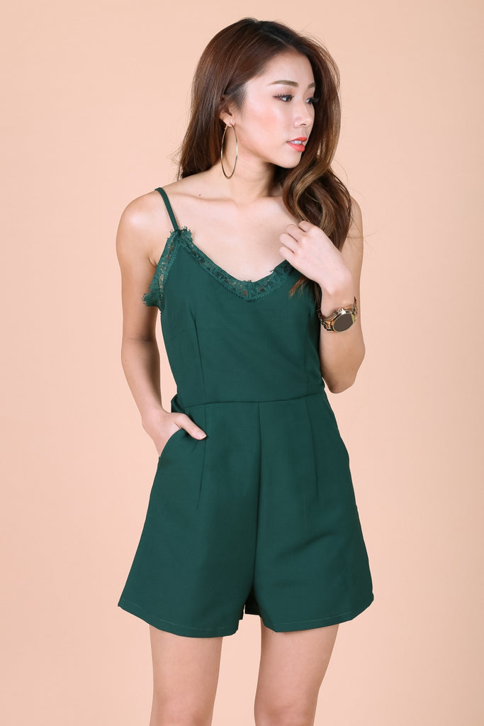 *TOPAZ* (PREMIUM) LACE TRIMS ROMPER IN FOREST - TOPAZETTE