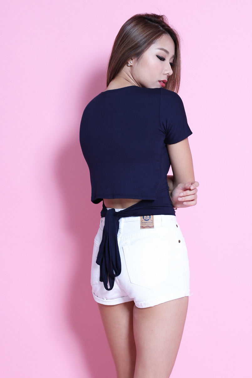 MULTI TIE COTTON TOP IN NAVY - TOPAZETTE