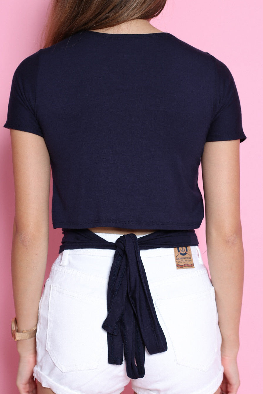 MULTI TIE COTTON TOP IN NAVY
