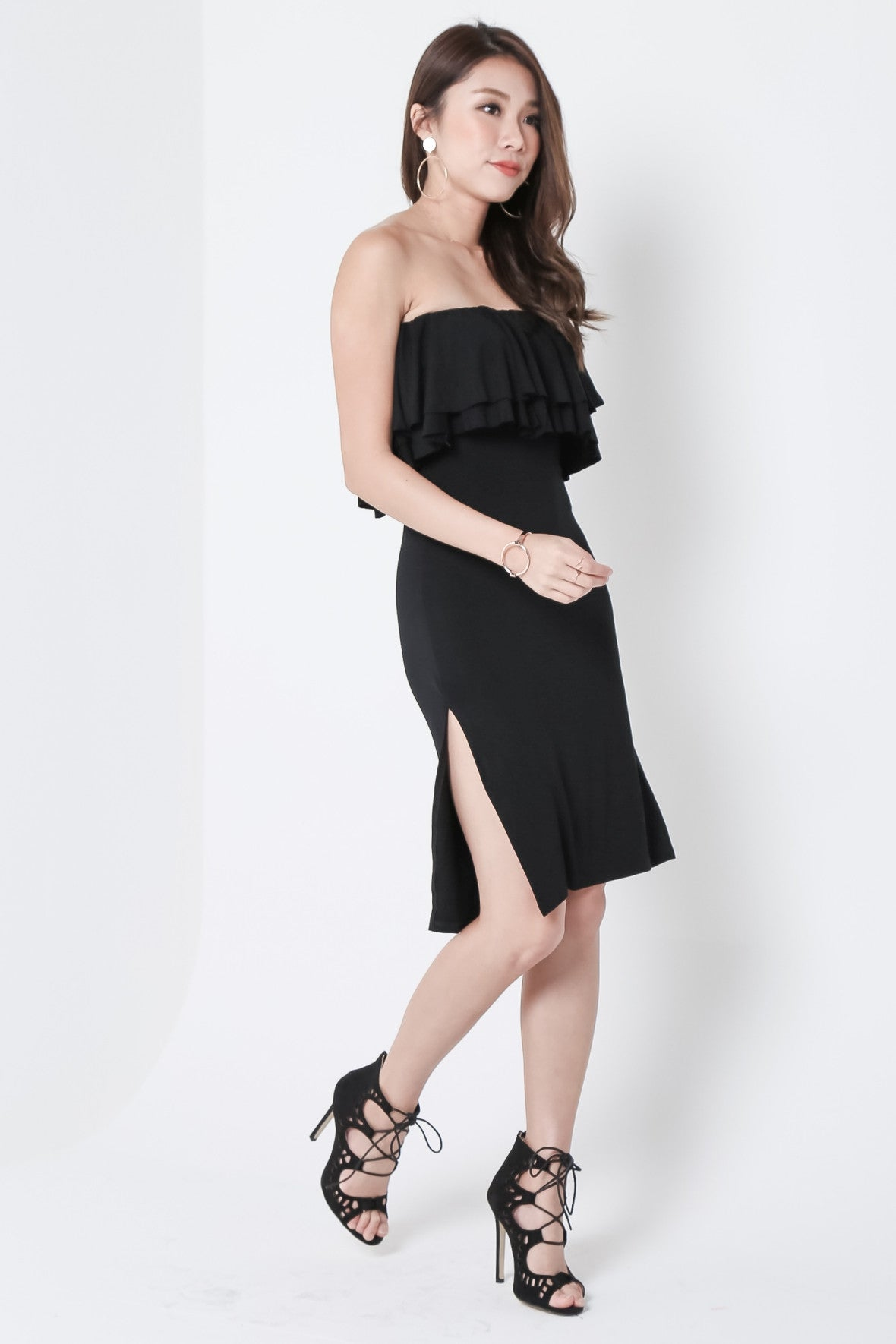 *BACKORDER* WATERFALL SIDE SLIT DRESS IN BLACK - TOPAZETTE