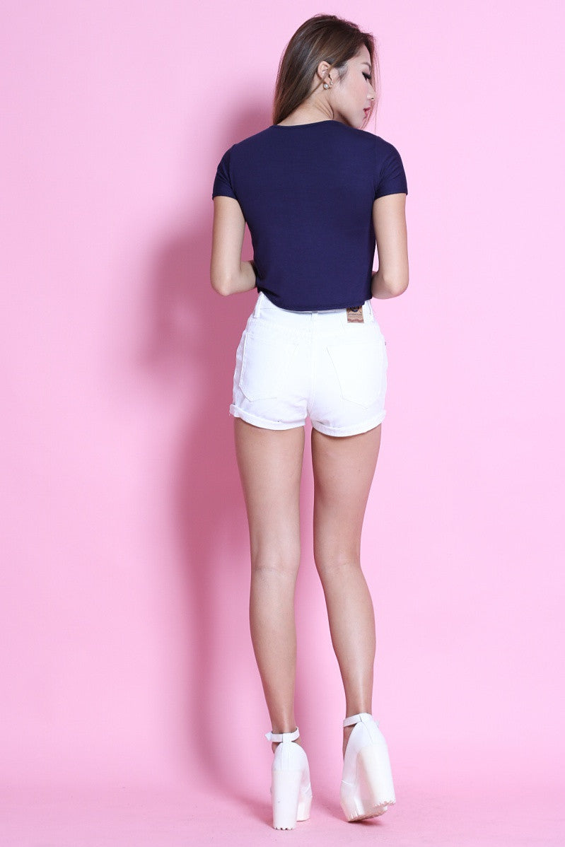 ROUND NECK BASIC TOP IN NAVY