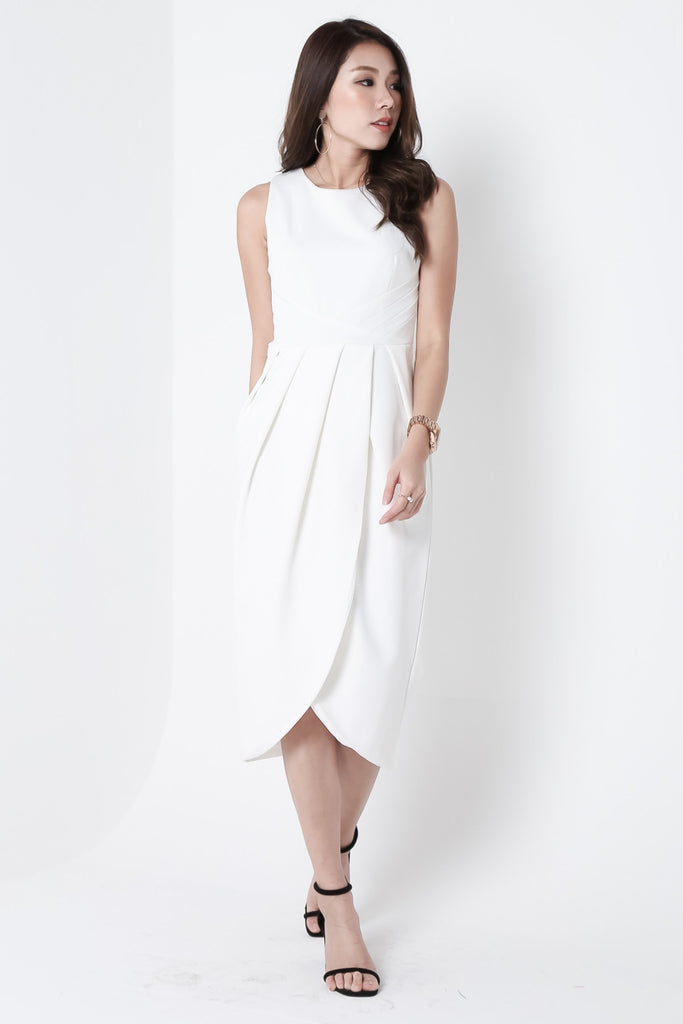*TOPAZ* (PREMIUM) ARIES TULIP DRESS IN WHITE - TOPAZETTE
