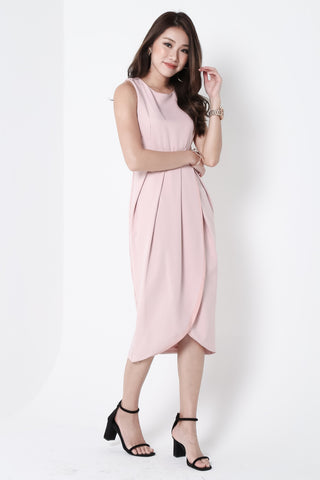 *TOPAZ* (PREMIUM) ARIES TULIP DRESS IN DUSTY PINK - TOPAZETTE