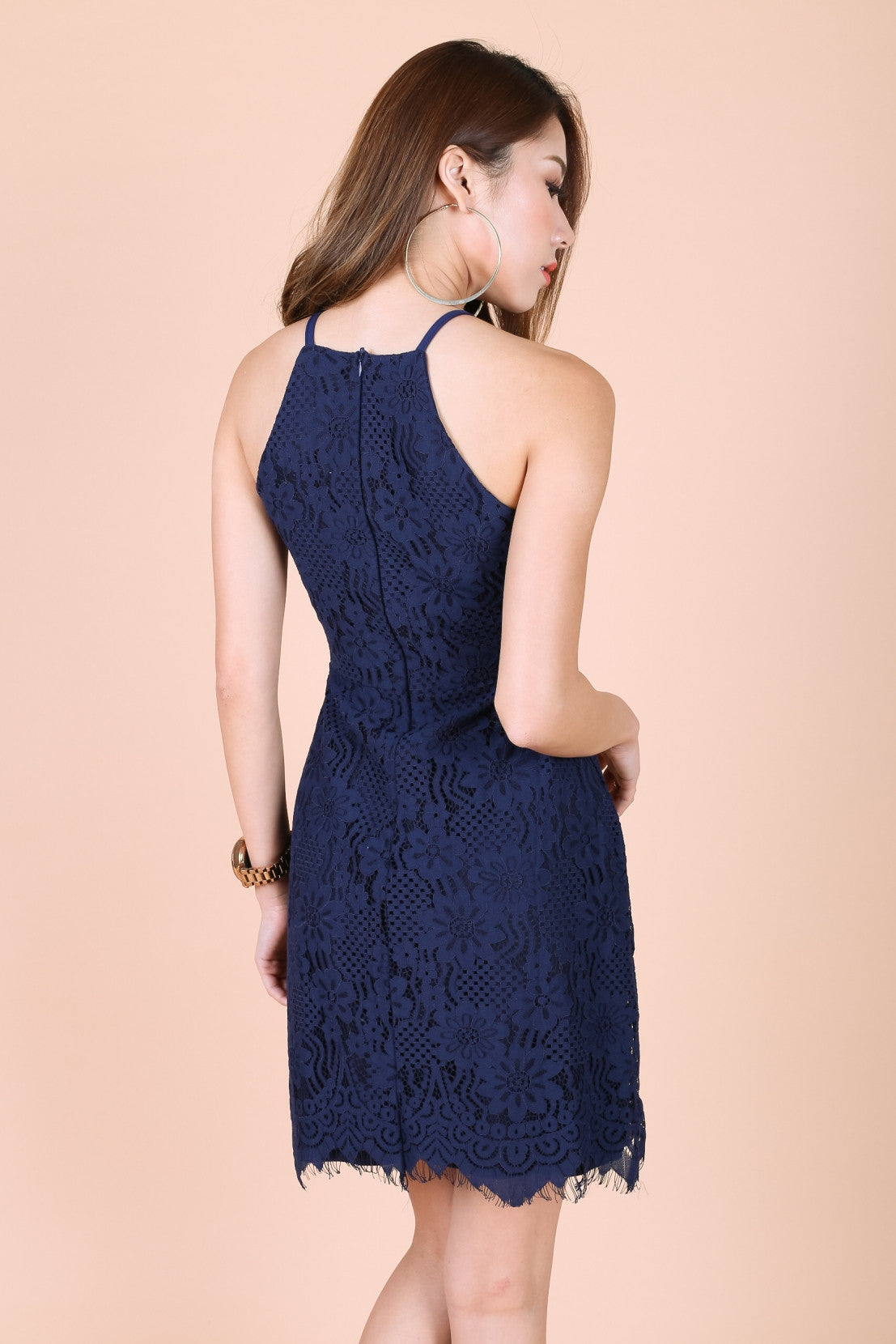 TOPAZ *PREMIUM* ZARA LACE DRESS IN NAVY