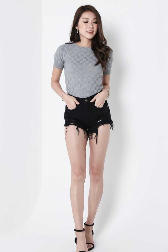 *RESTOCKED* MADE FOR YOU RIPPED DENIM SHORTS IN BLACK - TOPAZETTE