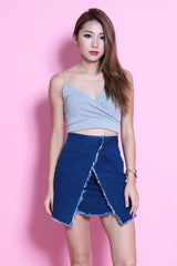 FRAYED DENIM SKIRT IN DARK BLUE