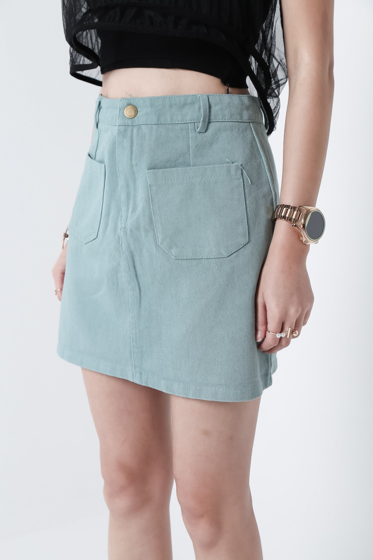 (RESTOCKED) MARSHMELLO DENIM SKIRT IN MINT - TOPAZETTE