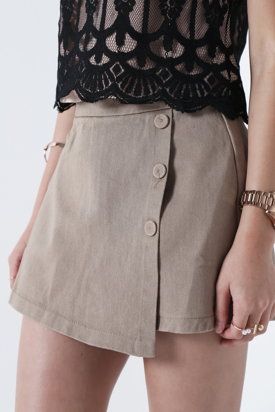 CRESIDA BUTTON SKORTS IN TAUPE - TOPAZETTE