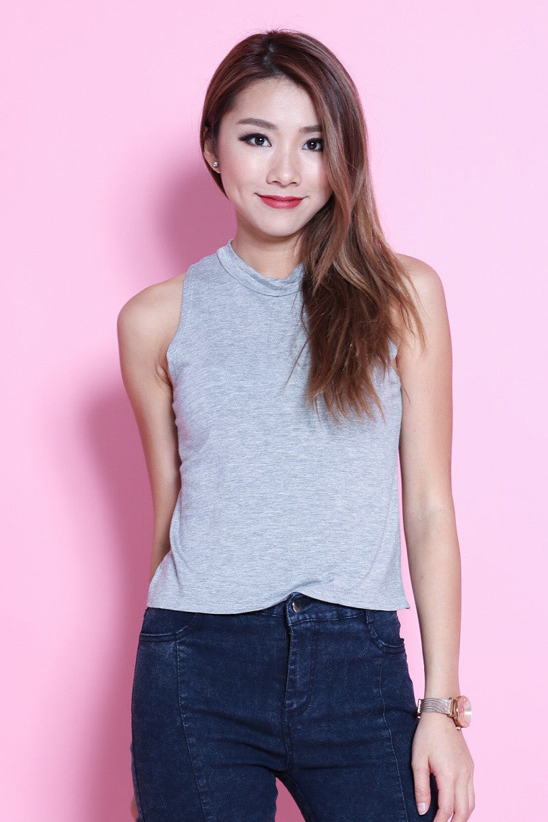 HIGH NECK COTTON TANK IN GREY