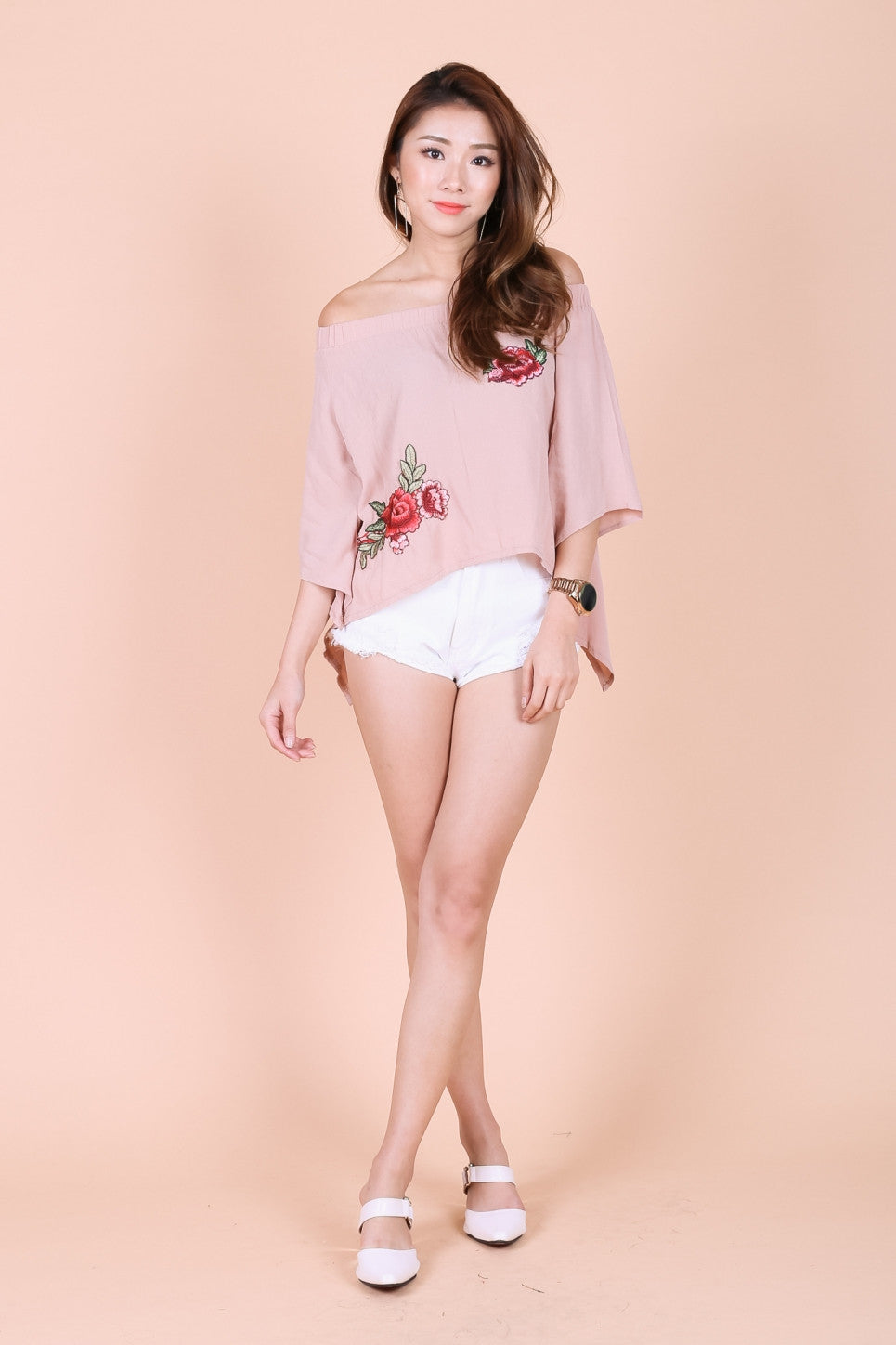 *TOPAZ* KYRA ROSE EMBROIDERY TOP IN TAUPE - TOPAZETTE