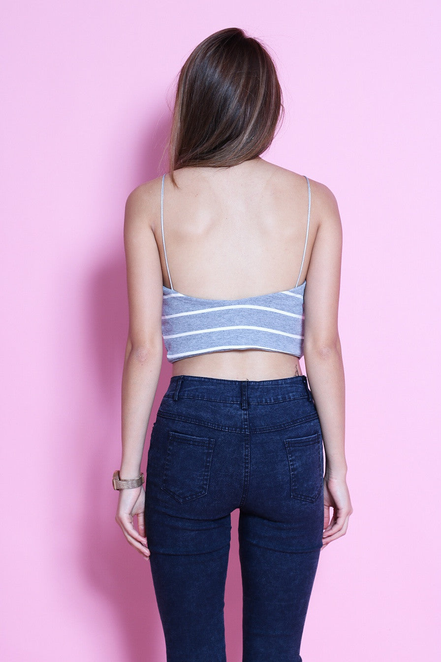 NAUTICAL BRALET IN LIGHT GREY - TOPAZETTE