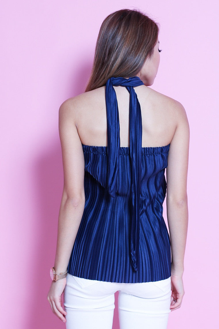 LUXE OPHELIA PLEATED TUBE TOP IN ROYAL BLUE