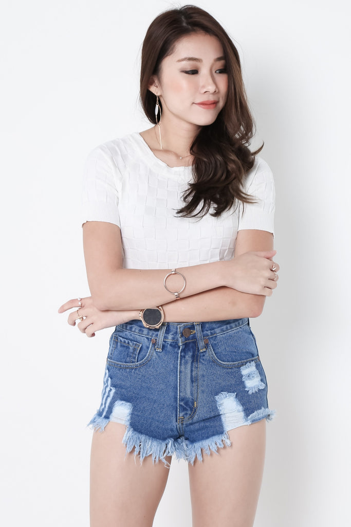 (RESTOCKED) MADE FOR YOU RIPPED DENIM SHORTS IN MID WASH - TOPAZETTE
