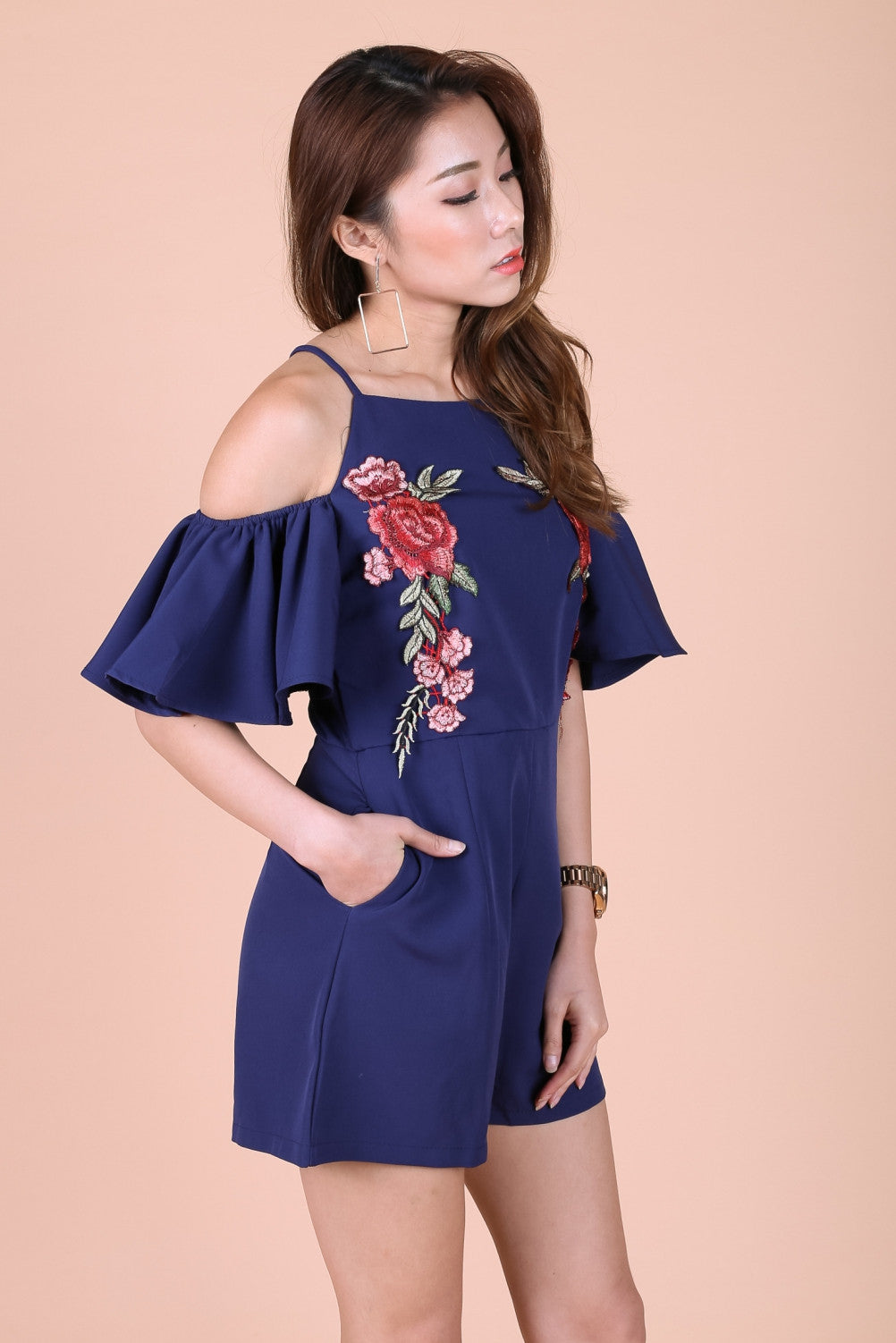 *TOPAZ* (PREMIUM) VITA ROSE EMBROIDERY COLD SHOULDER ROMPER IN NAVY - TOPAZETTE