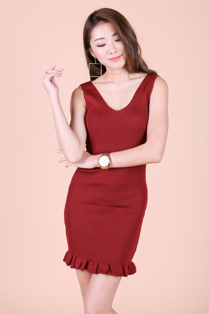MERMAID FRILL KNIT DRESS IN WINE - TOPAZETTE