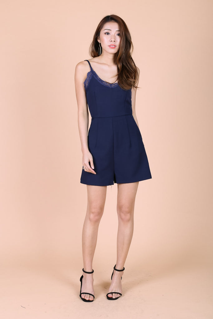 *TOPAZ* (PREMIUM) LACE TRIMS ROMPER IN NAVY - TOPAZETTE