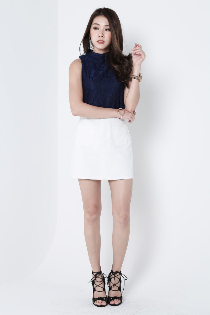 (RESTOCKED) MARSHMELLO DENIM SKIRT IN WHITE - TOPAZETTE