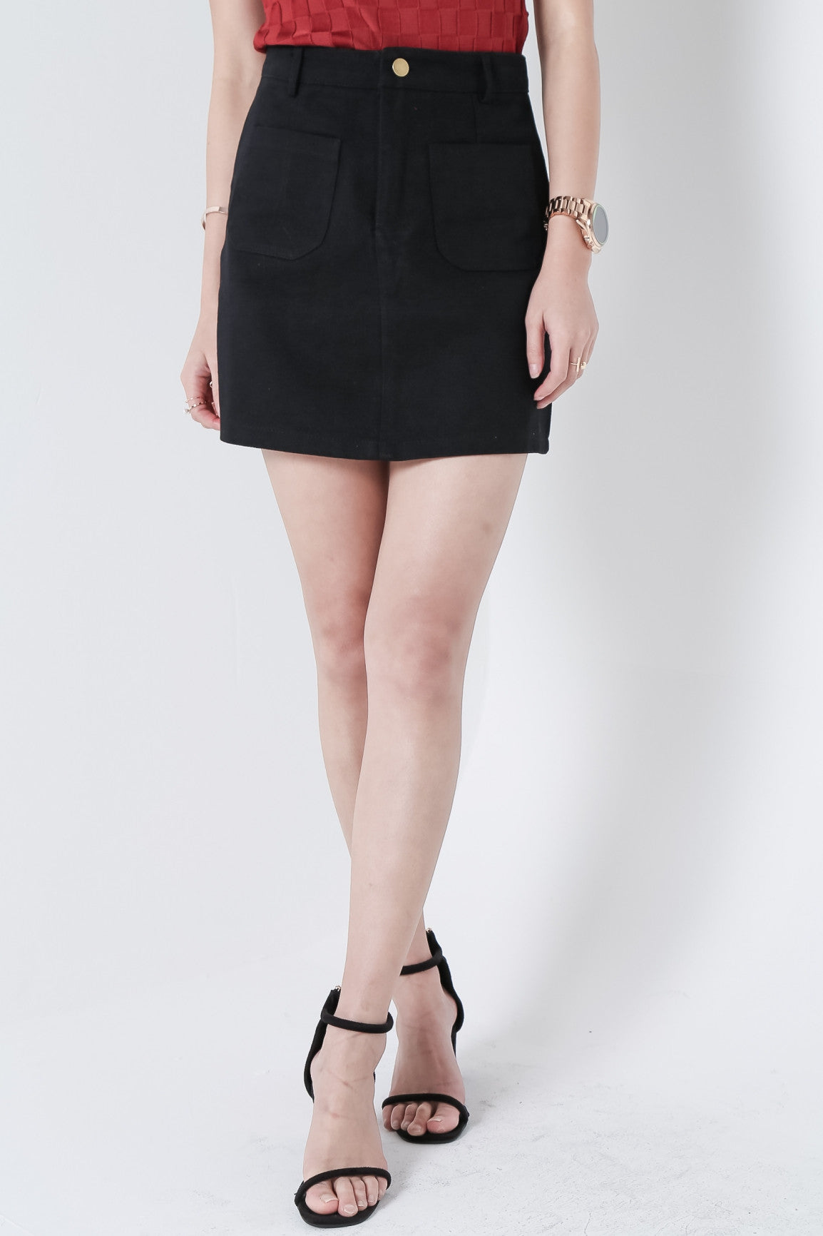 (RESTOCKED) MARSHMELLO DENIM SKIRT IN BLACK - TOPAZETTE