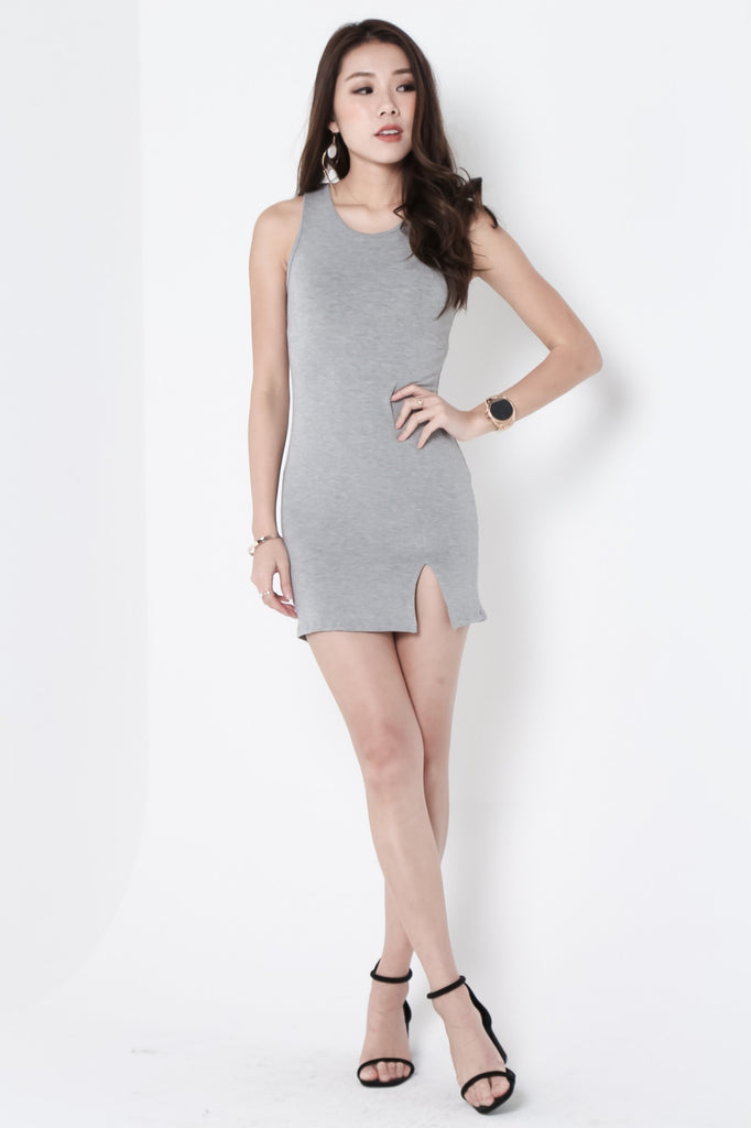 TANKFUL FOR YOU DRESS IN LIGHT GREY - TOPAZETTE