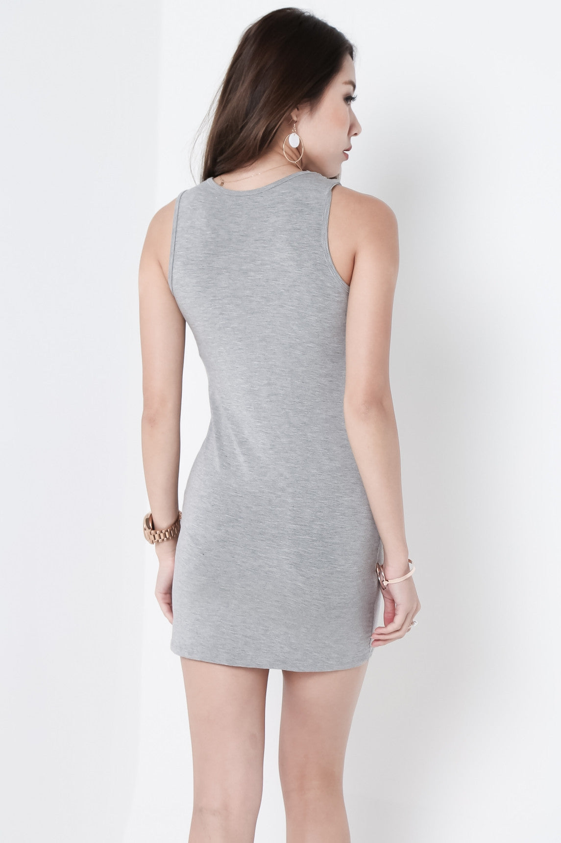 *RESTOCKED* TANKFUL FOR YOU DRESS IN LIGHT GREY