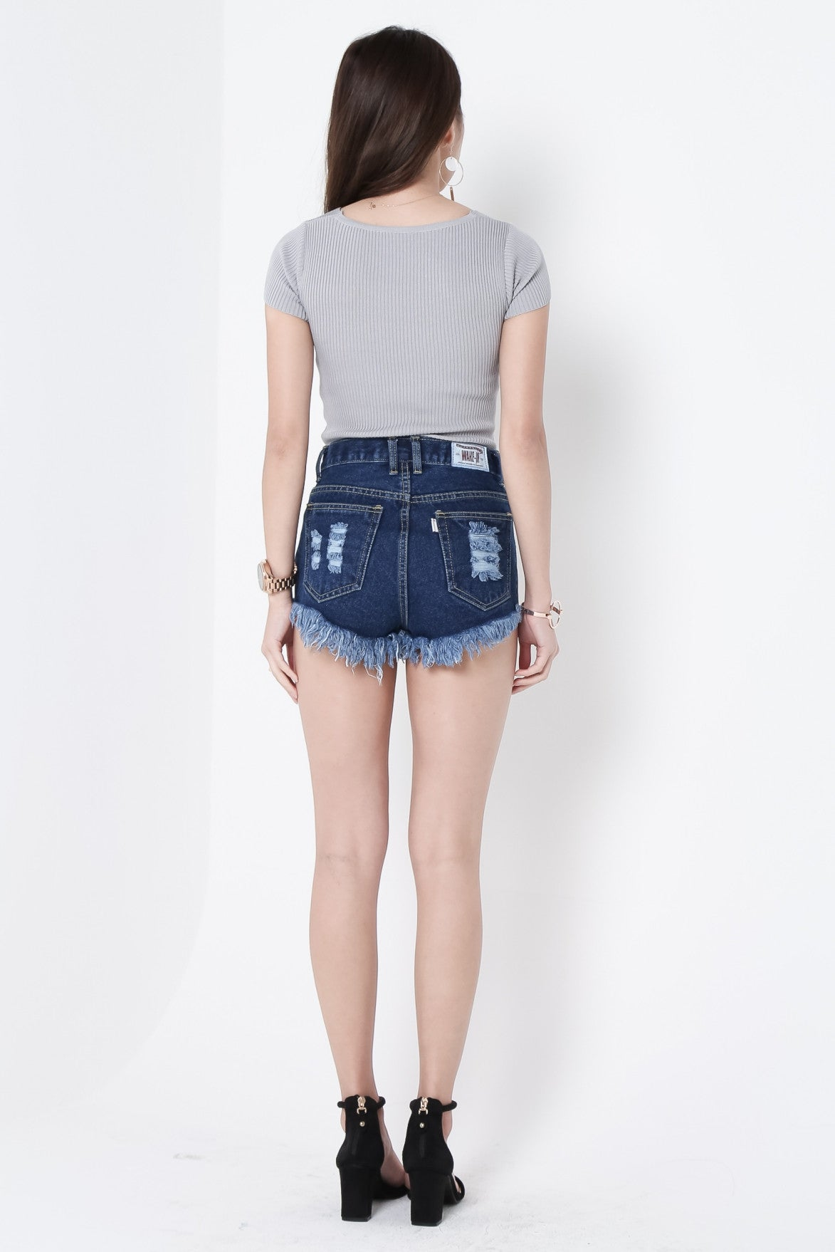 (RESTOCKED) MADE FOR YOU RIPPED DENIM SHORTS IN DARK WASH - TOPAZETTE