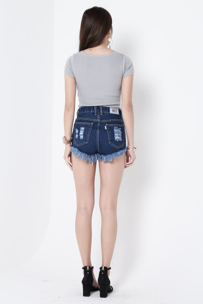 *RESTOCKED* MADE FOR YOU RIPPED DENIM SHORTS IN DARK WASH - TOPAZETTE