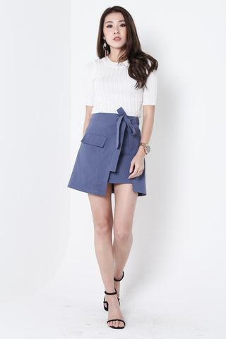 TIE WAIST SKIRT IN CLASSIC BLUE
