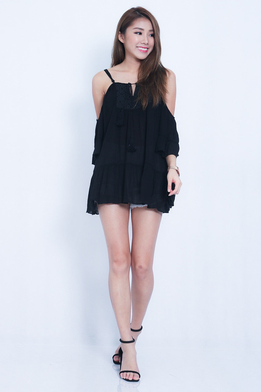 (RESTOCKED) NERISSA EMBROIDERED SUNDRESS IN BLACK - TOPAZETTE