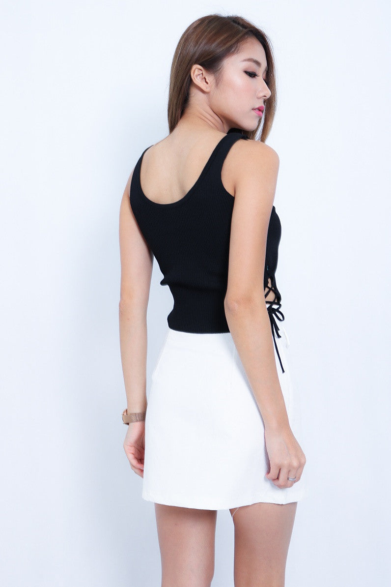 (RESTOCKED 2) SIDE LACED UP KNIT TOP IN BLACK - TOPAZETTE