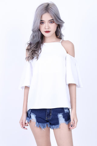 *RESTOCKED* MINTON COLD SHOULDER TOP IN WHITE
