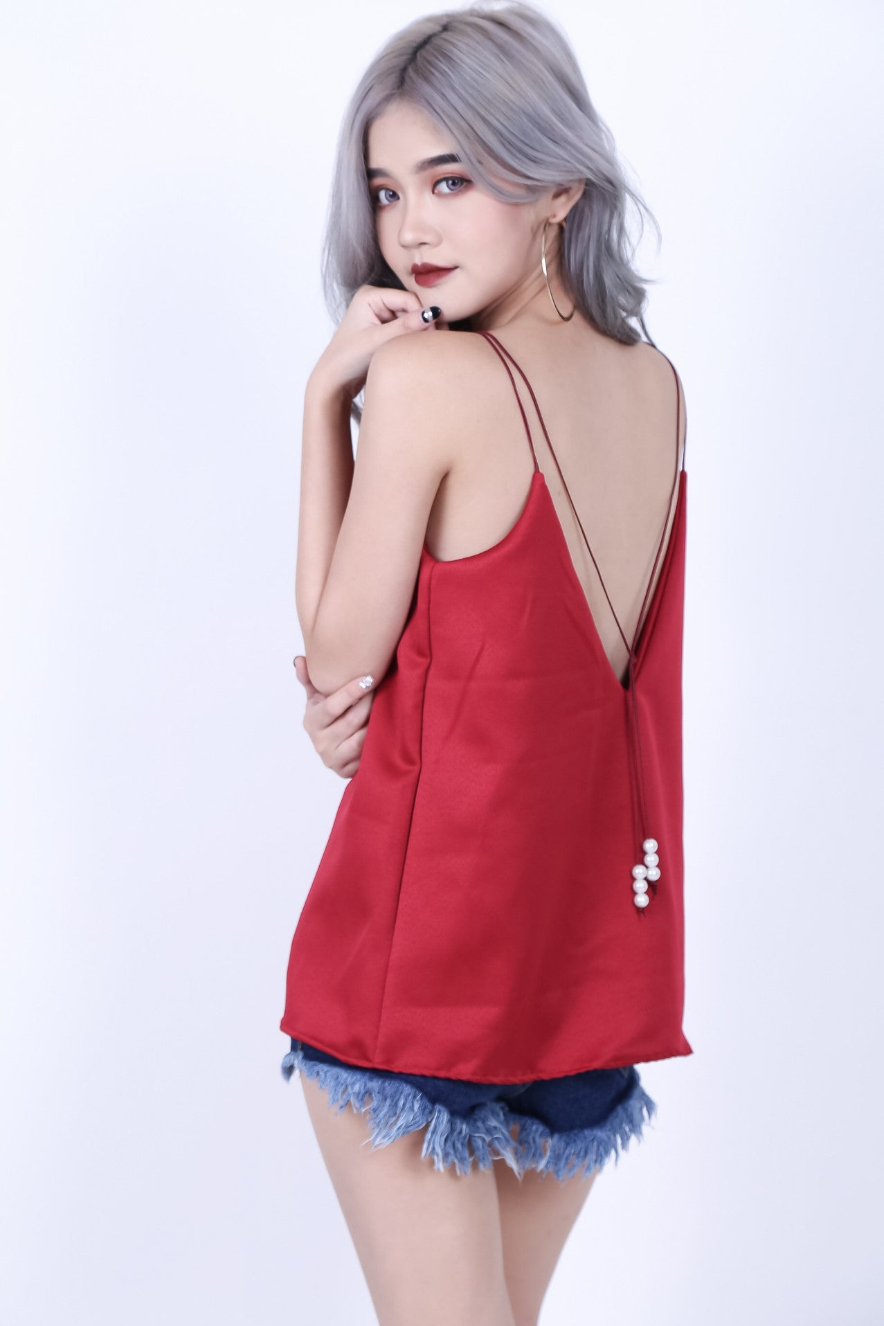 CHARM LOW BACK SPAG TOP IN WINE - TOPAZETTE