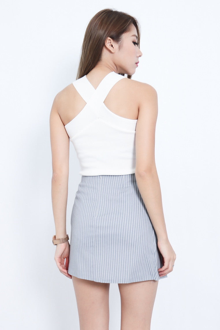 (RESTOCKED) CROSS WRAP KNIT TOP IN WHITE - TOPAZETTE