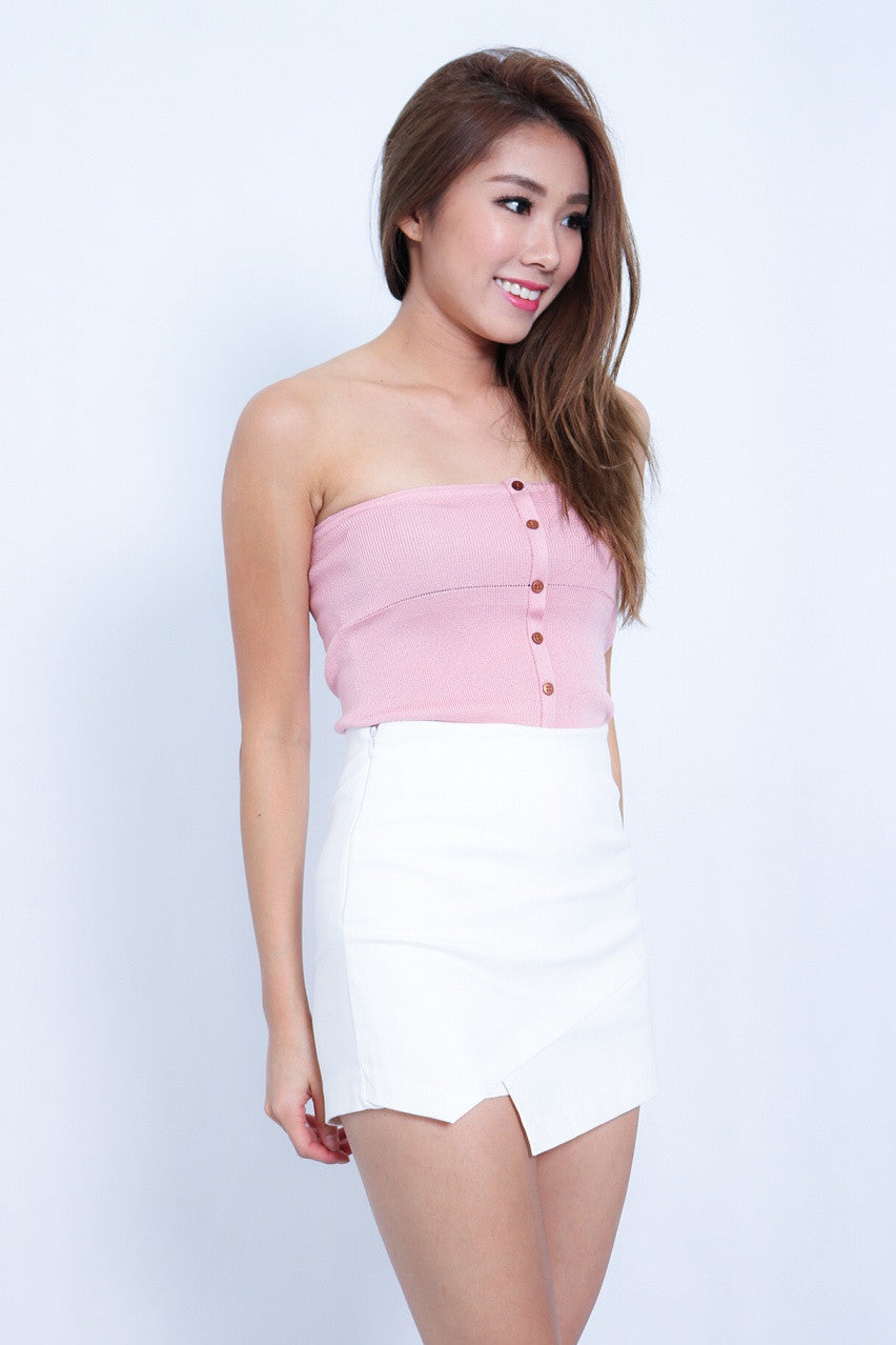 (RESTOCKED 3) FLYNN BUTTONED UP KNIT TOP IN BLUSH - TOPAZETTE