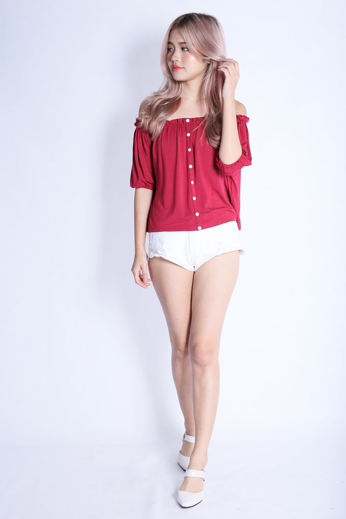 *RESTOCKED* OFF DUTY BUTTON BASIC OFFSIE IN WINE