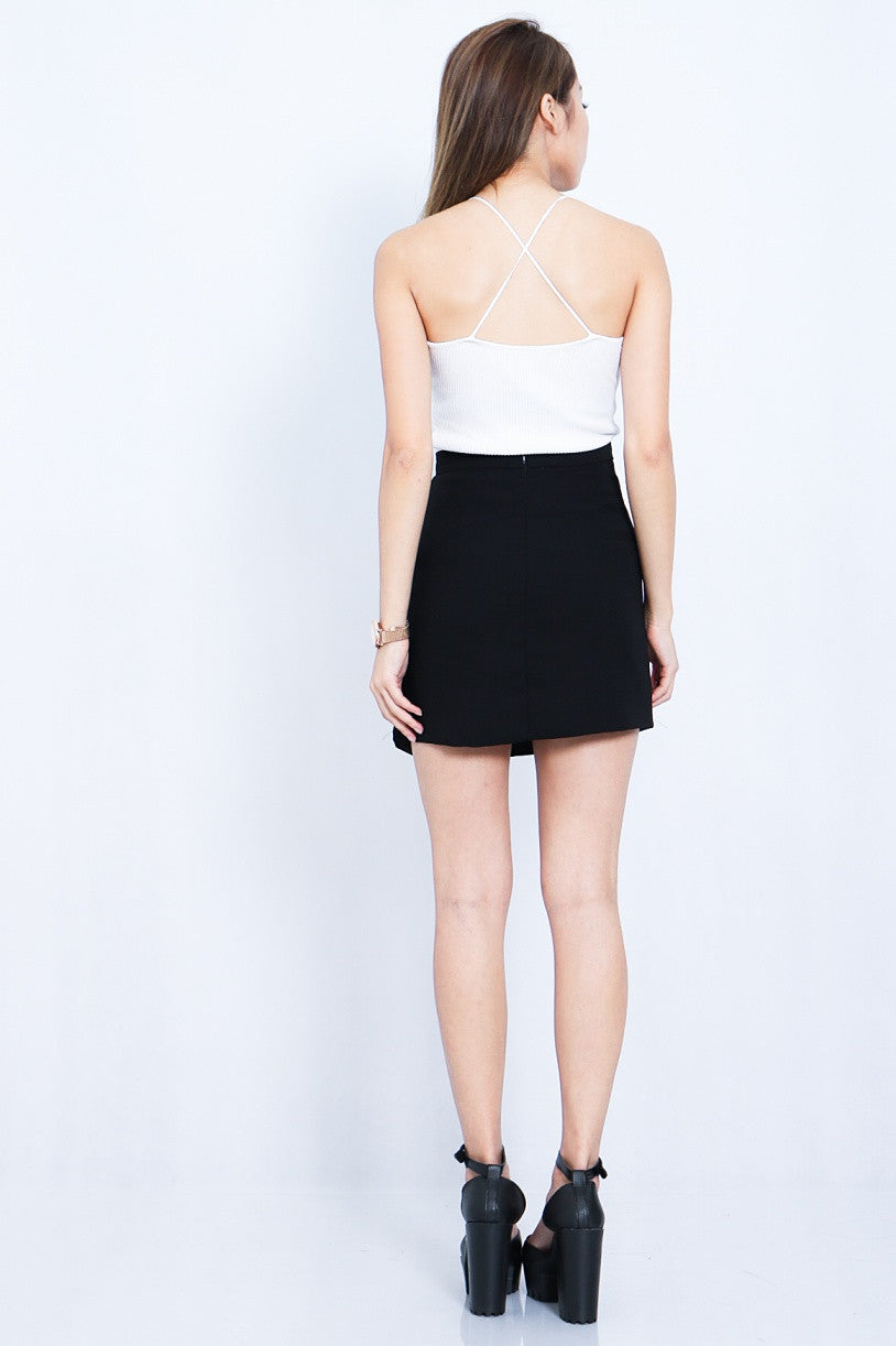 (RESTOCKED 2) SLIM CROSS BACK KNIT TOP IN WHITE - TOPAZETTE