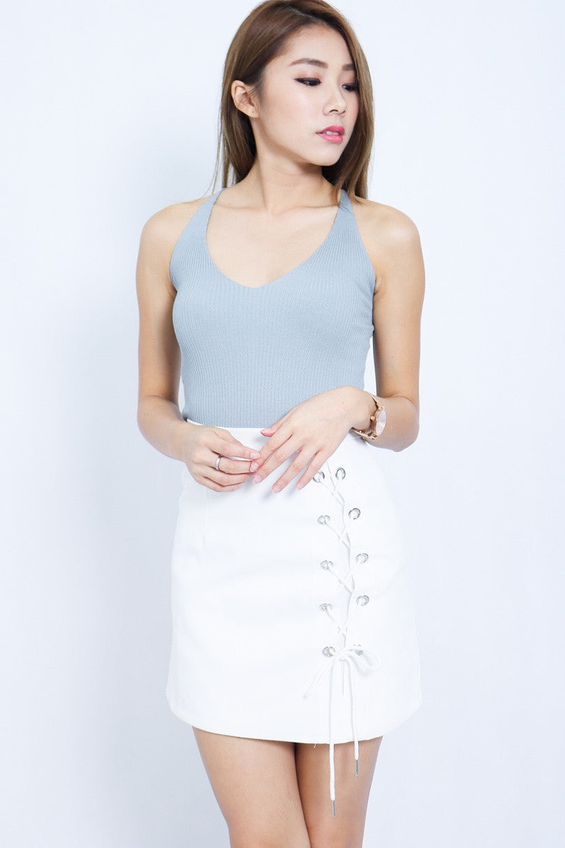 (RESTOCKED 3) LACE THEM UP SKIRT IN WHITE - TOPAZETTE