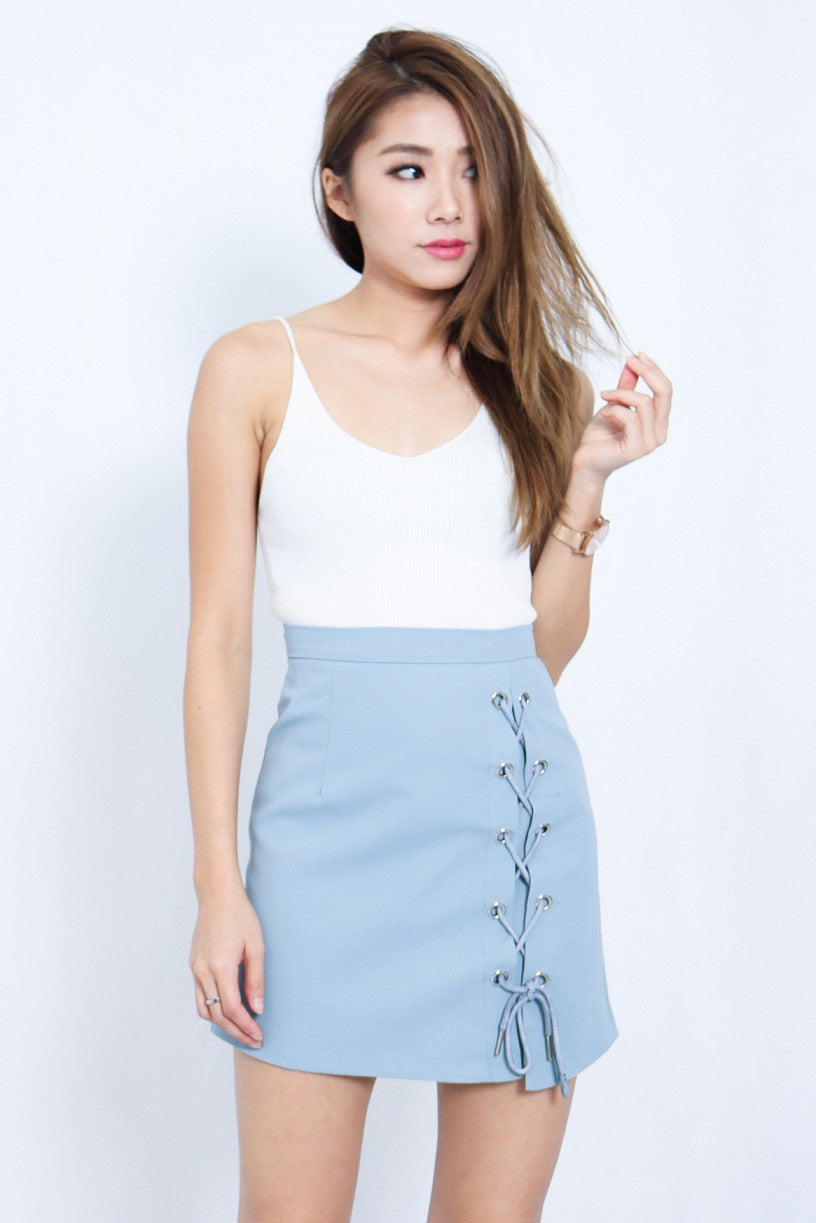 (RESTOCKED 5) LACE THEM UP SKIRT IN SKY - TOPAZETTE