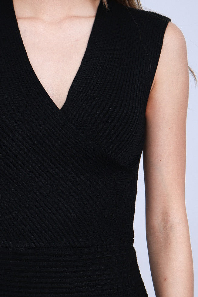 (RESTOCKED 3) WRAP UP KNIT TOP IN BLACK - TOPAZETTE