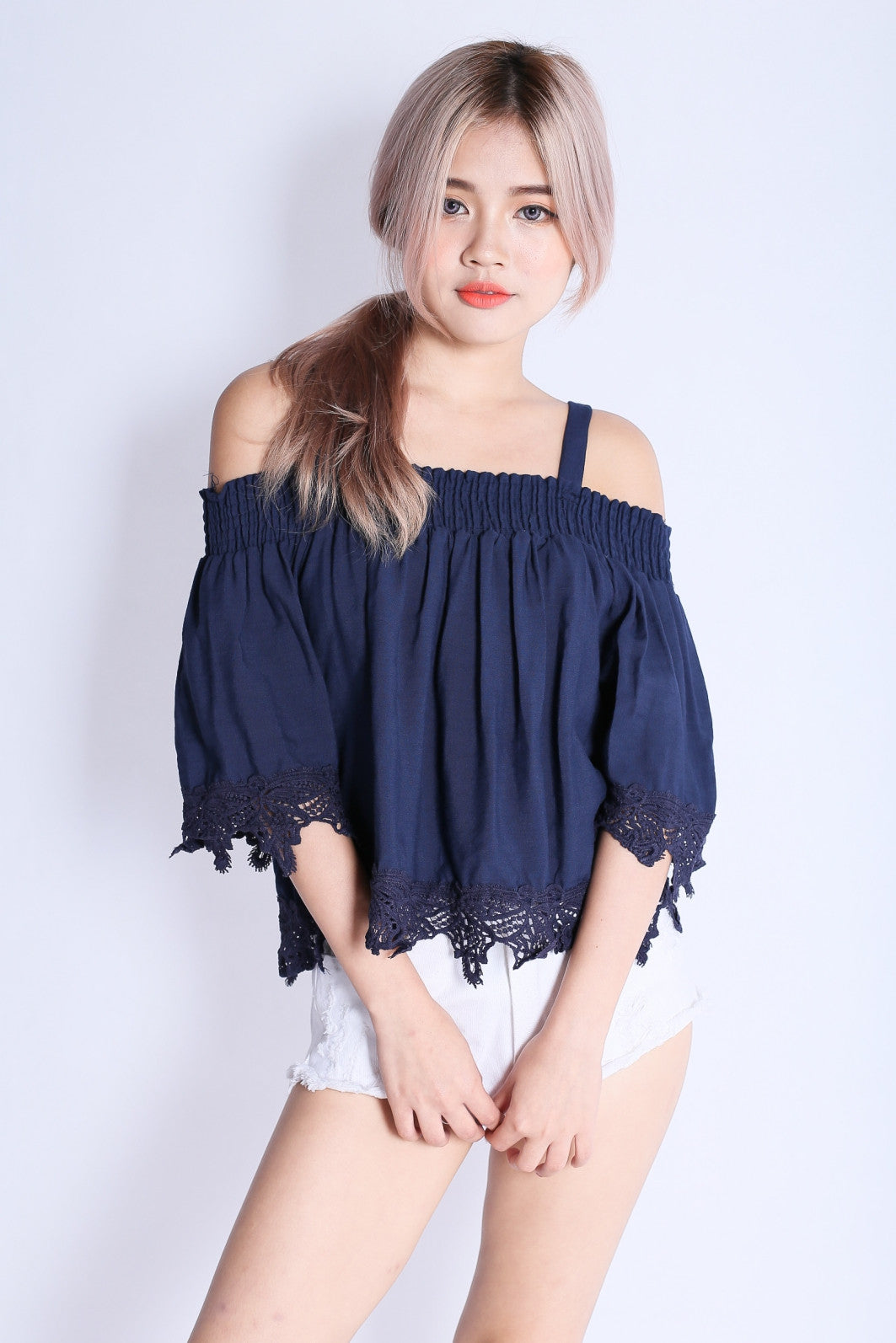 CORA CROCHET TOP IN NAVY - TOPAZETTE