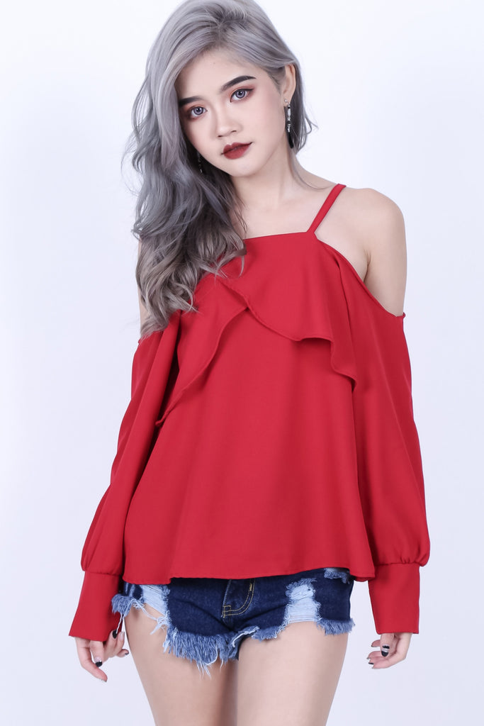 DRAPE FRONT COLD SHOULDER TOP IN WINE - TOPAZETTE
