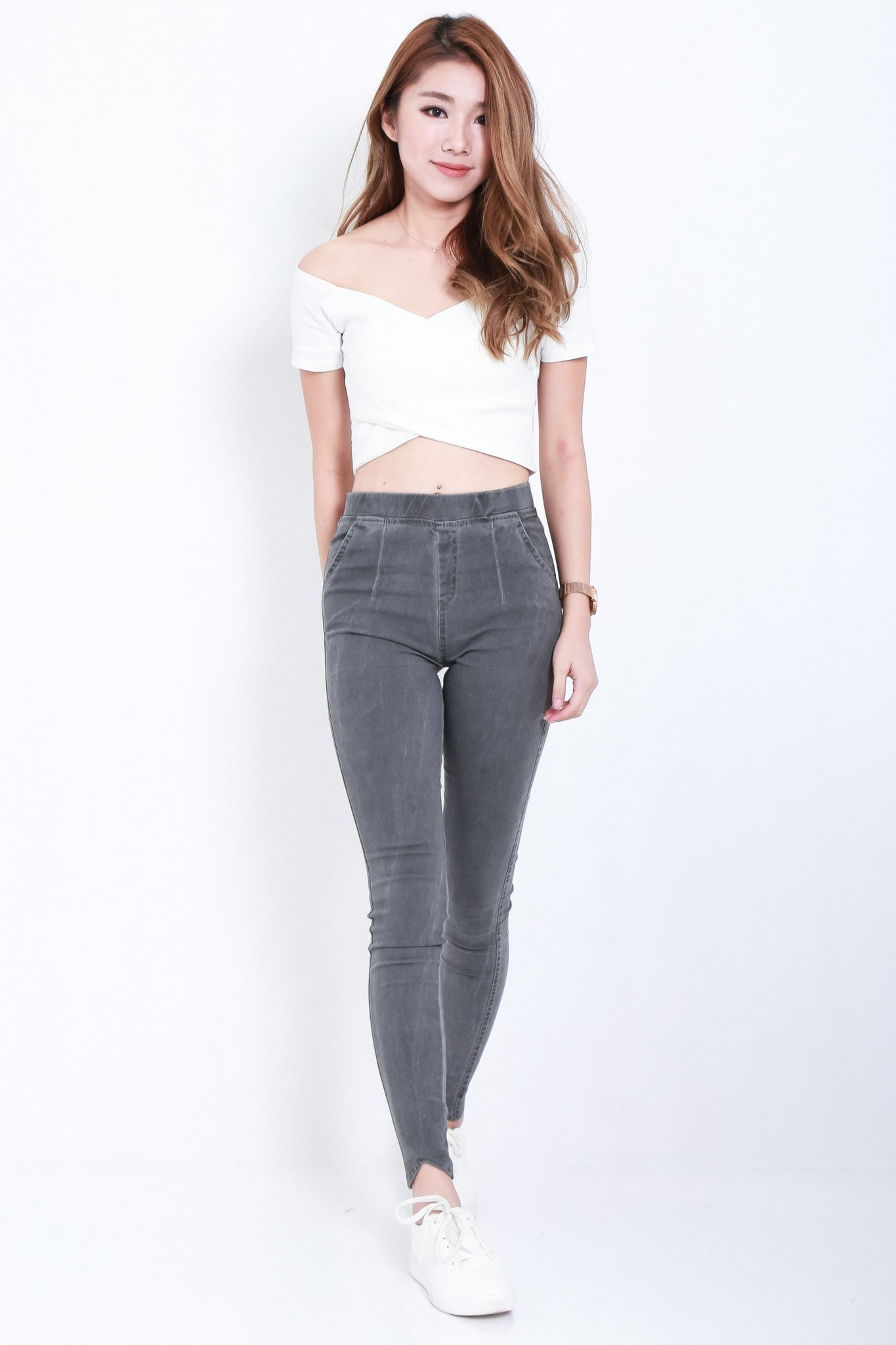 CLASSIC STRETCHY JEGGINGS IN GREY - TOPAZETTE