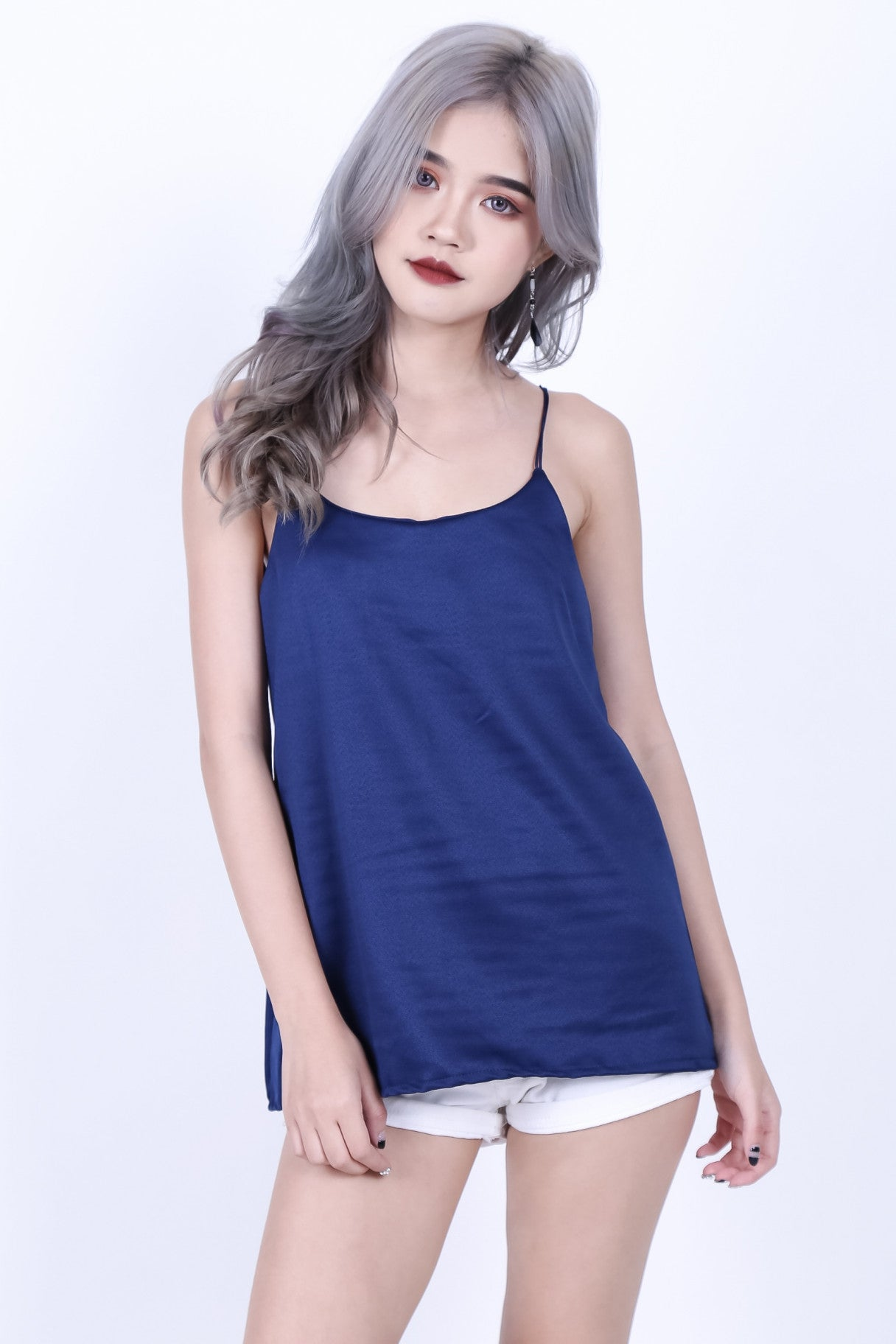 CHARM LOW BACK SPAG TOP IN NAVY - TOPAZETTE