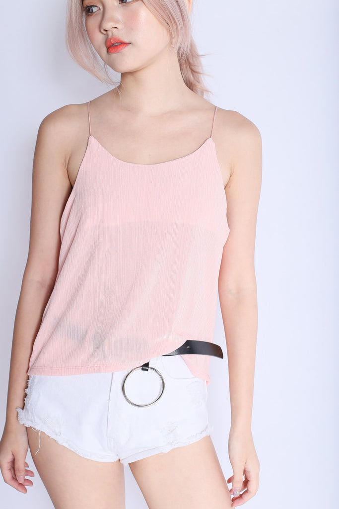 SOPHIA FLOWY PLEATS SPAG TOP IN BLUSH - TOPAZETTE