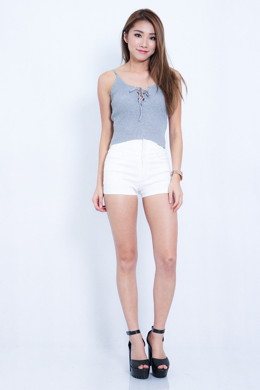 (RESTOCKED) RIBBED LACE UP TOP IN GREY - TOPAZETTE