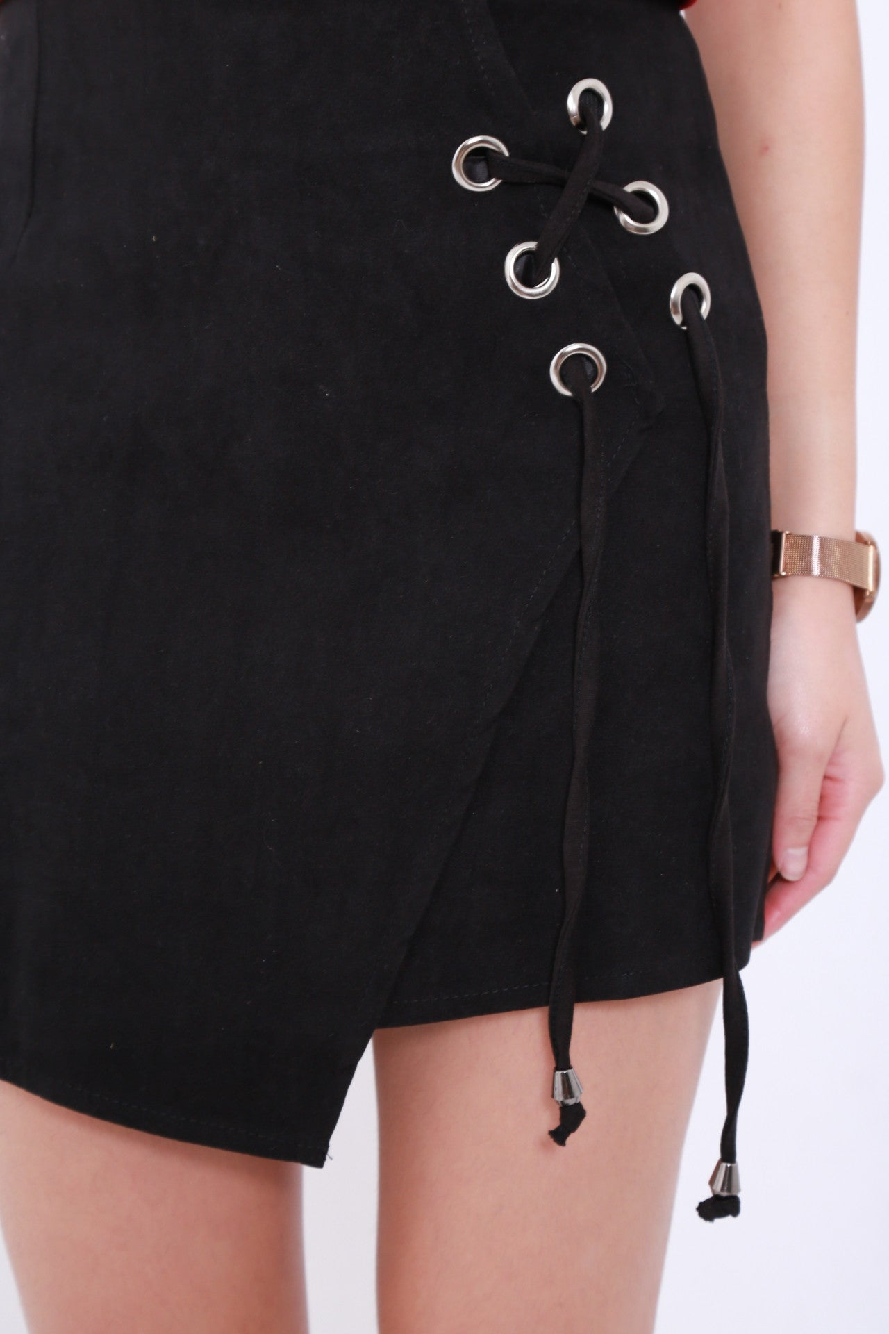 ASYMMETRICAL LACED UP SKIRT IN BLACK - TOPAZETTE