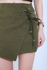 ASYMMETRICAL LACED UP SKIRT IN FOREST - TOPAZETTE