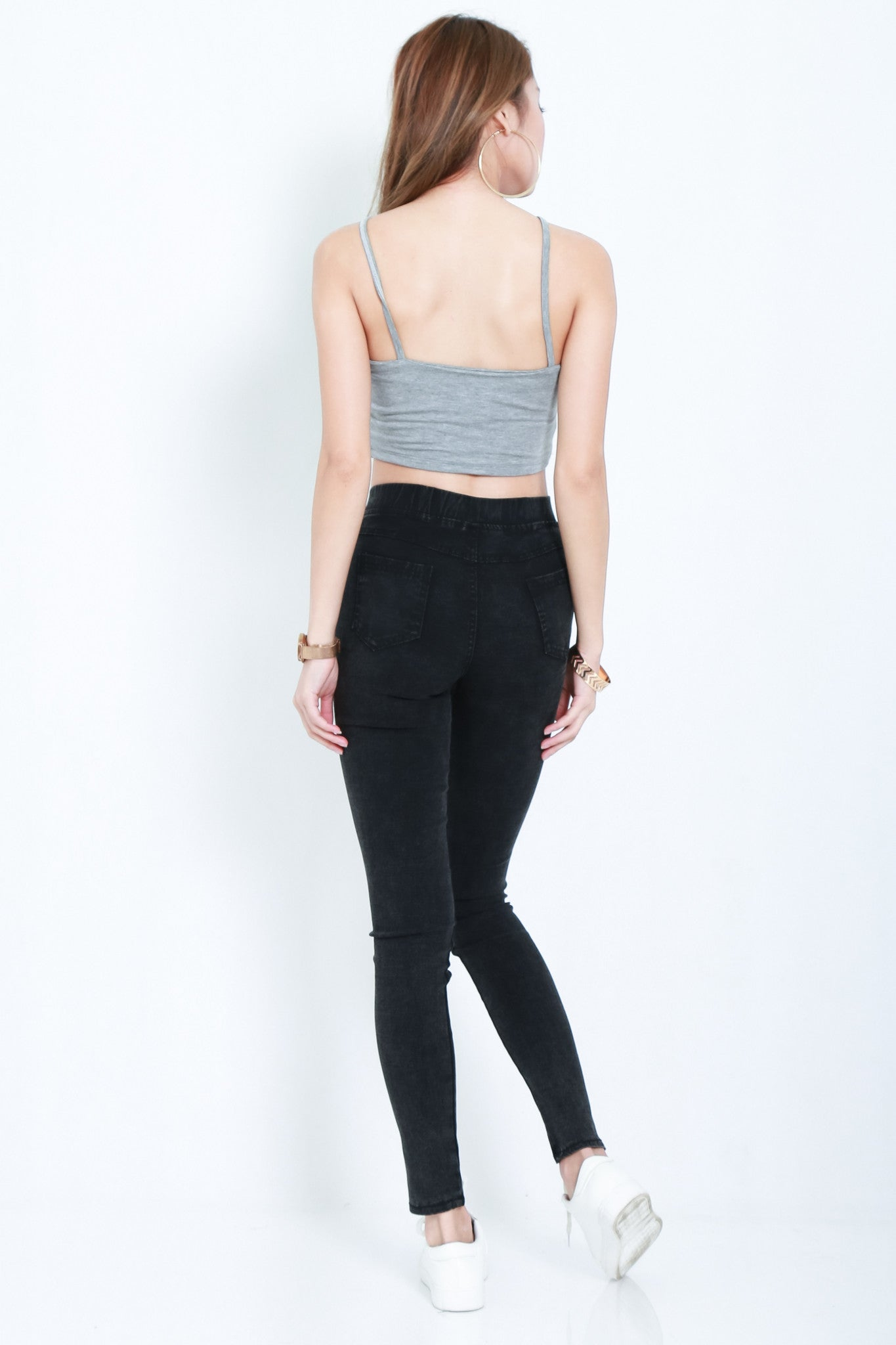 *RESTOCKED* WEBBED CROP TOP IN LIGHT GREY