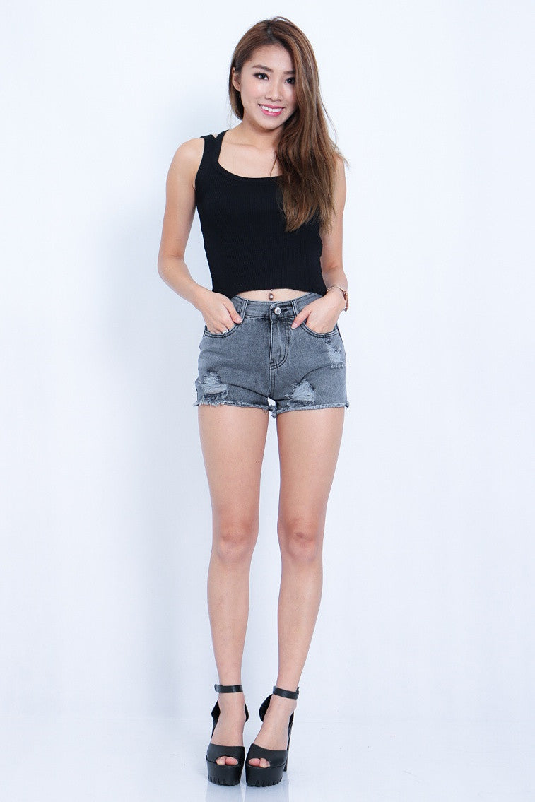 ESSENTIAL RIPPED SHORTS IN METAL GREY - TOPAZETTE