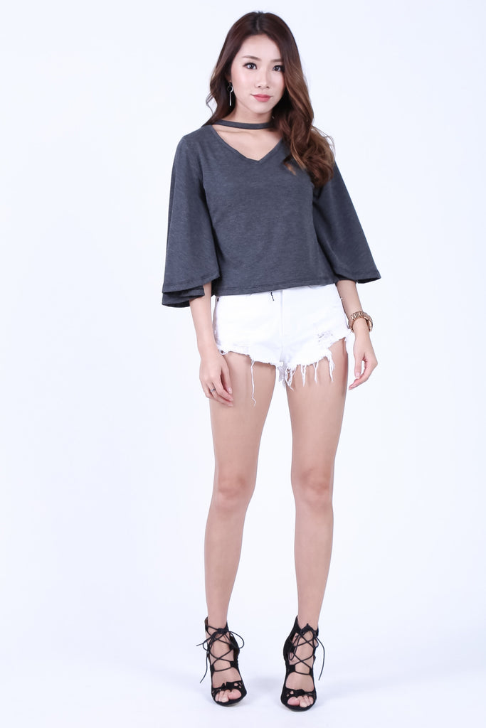 *BACKORDER* CHOKER BELL SLEEVES TOP IN DARK GREY - TOPAZETTE