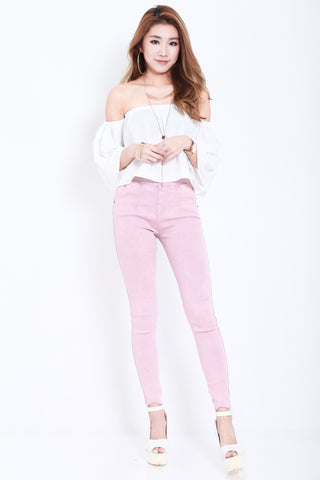 (RESTOCKED) CLASSIC STRETCHY JEGGINGS IN BABY PINK - TOPAZETTE
